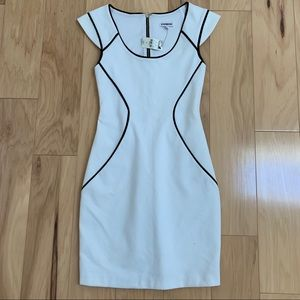 Express White Black Stretch Fitted Dress